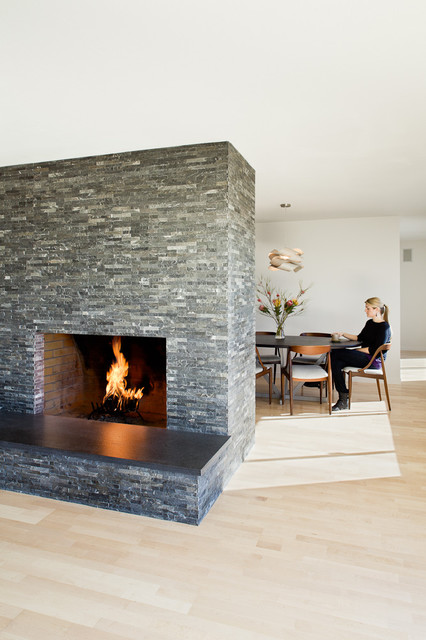 Stone Veneer Fireplace Dining Room Modern with Ceiling Lighting Fireplace Hearth