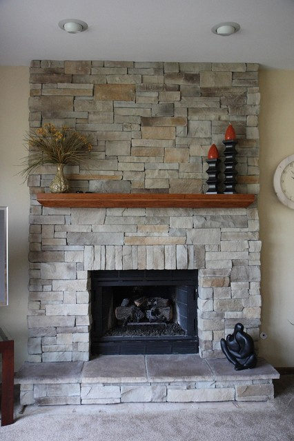 Stone Veneer Fireplace Family Room Traditional with Brick Fireplace Fireplace Design