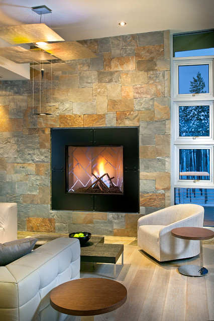 Stone Veneer Fireplace Living Room Contemporary with Armchair Coffee Table Fireplace