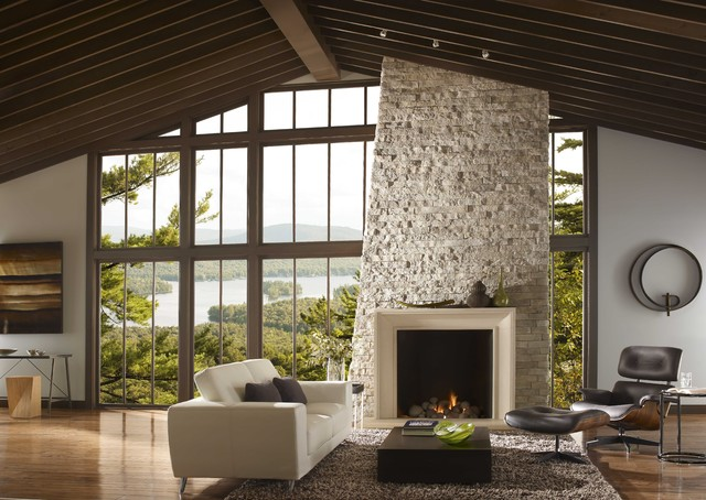 Stone Veneer Fireplace Living Room Contemporary with Black Lounge Chair Contemporary