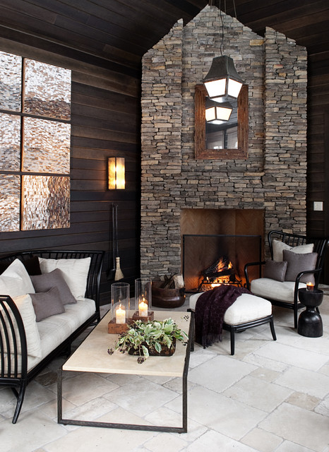 stone veneer fireplace Patio Contemporary with covered patio firewood storage
