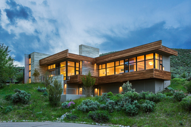 Stone Veneer Siding Exterior Contemporary with Cantilever Cantilevered Ceiling To
