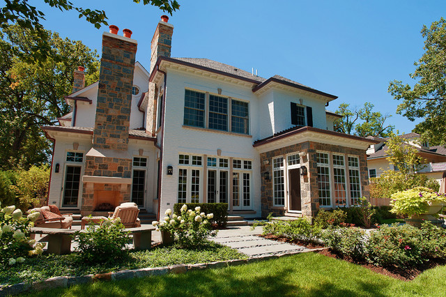 Stone Veneer Siding Exterior Contemporary with Hanging Lantern Mixed Materials