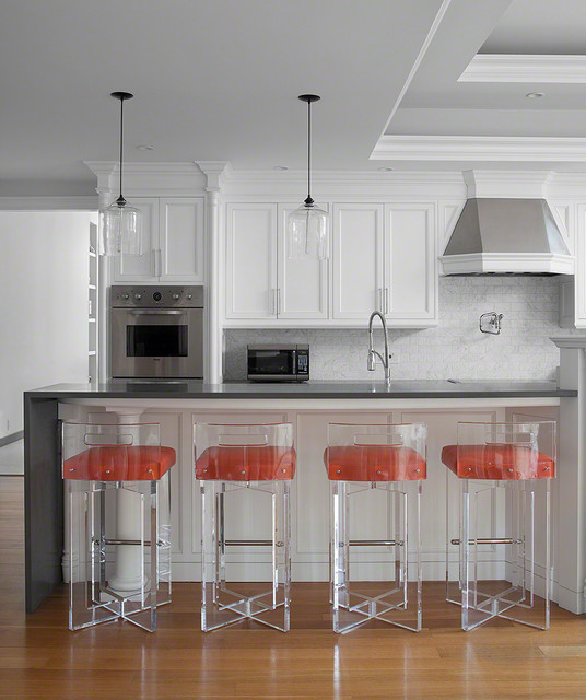 Stool Cushions Kitchen Transitional with Acrylic Bell Jar Pendant