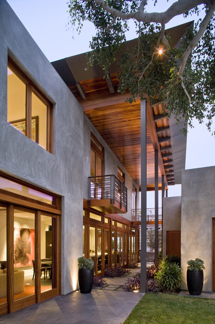 Stucco Finishes Exterior Contemporary with Balcony Container Plants Eaves