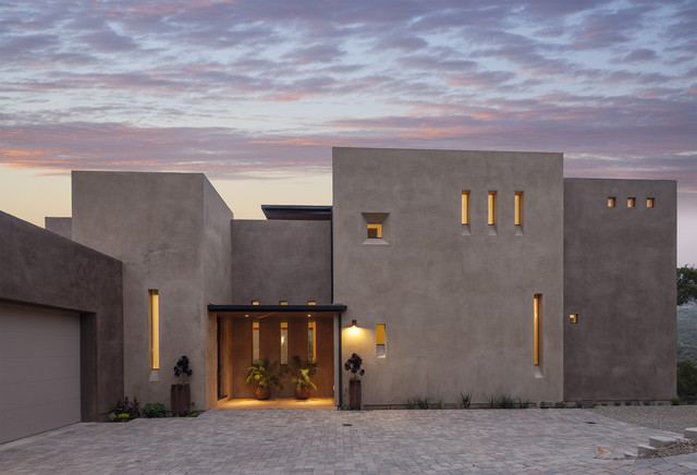 Stucco Finishes Exterior Contemporary with Brick Paving Container Plants