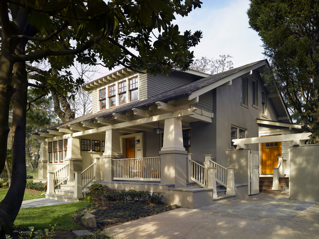 Stucco Finishes Exterior Craftsman with Arbor Arts and Crafts
