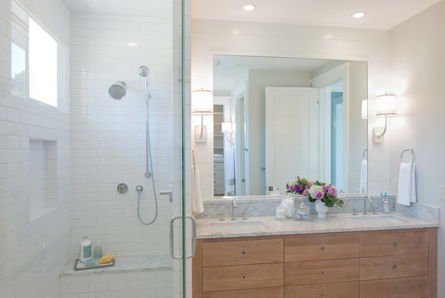 Subway Tile Shower Bathroom Beach with Bathroom Canisters Bathroom Mirror1