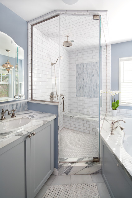 Subway Tile Shower Bathroom Beach with Blue Bathroom Built In