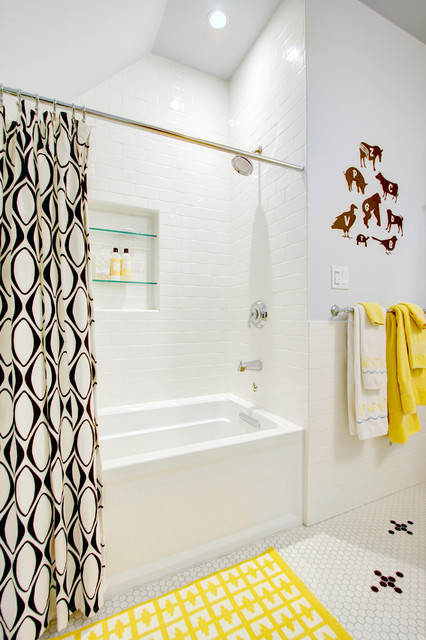 subway tile shower Bathroom Contemporary with attic bathroom bathroom remodel