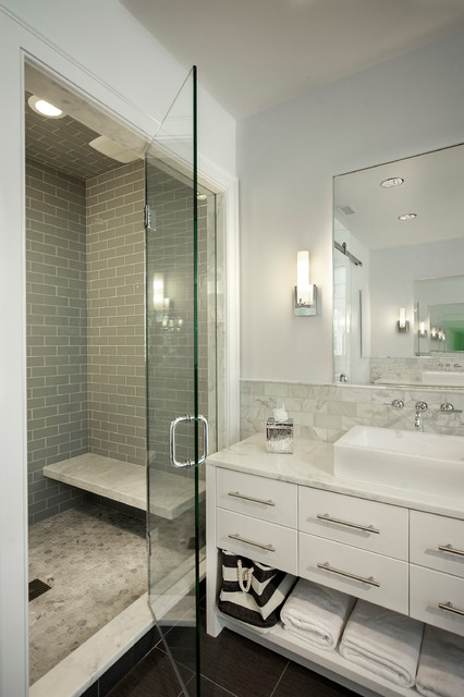 Subway Tile Shower Bathroom Contemporary with Bathroom Mirror Dark Floor