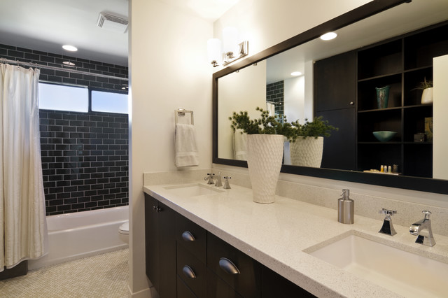 Subway Tile Shower Bathroom Contemporary with Bathtub Beige Bathroom Curtain1
