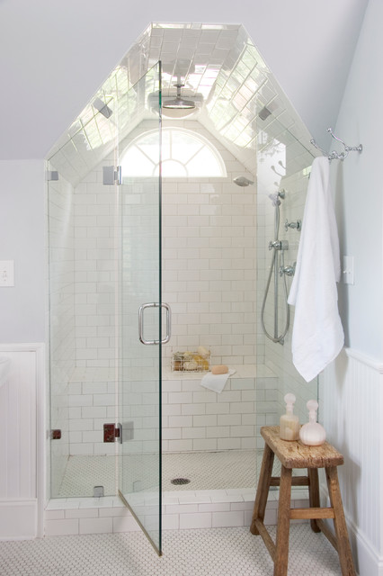 Subway Tile Shower Bathroom Traditional with Beadboard Wainscoting Beaded Board Paneling1