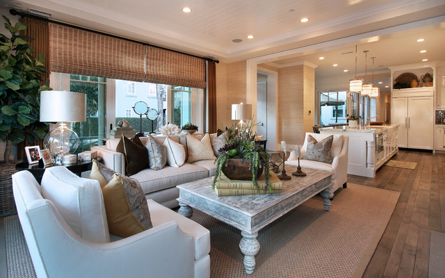 Succulent Arrangements Living Room Traditional with Bamboo Shades Beige Couch