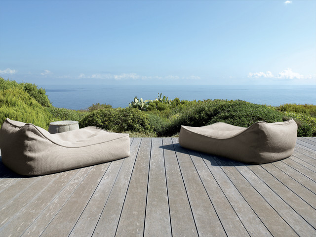 Summer Comforter Deck Rustic with Bean Bag Chairs Chaise