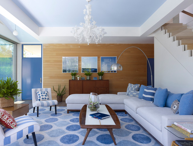 Summer Comforter Living Room Contemporary with Armless Chairs Blue And