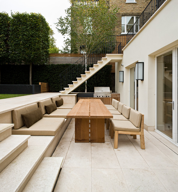 Summer Comforter Patio Contemporary with Balcony Built in Bench