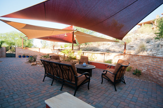 Sun Shade Canopy Patio Traditional with Arid Arizona Concrete Pavers