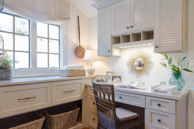 Sunburst Shutters Laundry Room Traditional with Built in Desk Casement Windows