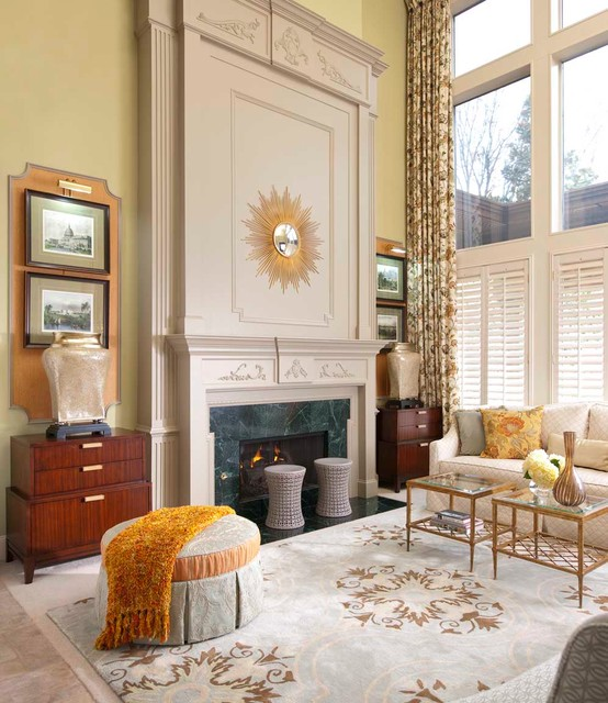 sunburst shutters Living Room Traditional with beige trim curtain Fireplace