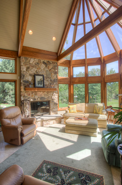 Sunroom Additions Family Room Traditional with Andersen Windows Brown Recliner