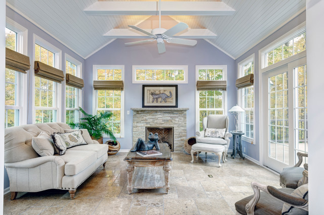 Sunroom Additions Sunroom Traditional with Beach Beams Blinds Blue