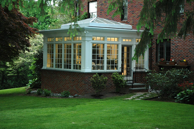 Sunroom Ideas Exterior Traditional with 4 Season Addition Black