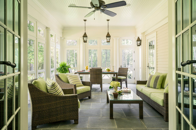 Sunroom Ideas Porch Traditional with Armchair Beadboard Ceiling Bluestone