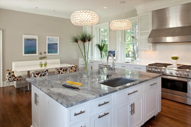 Super White Quartzite Kitchen Contemporary with Banquette Breakfast Nook Ceiling