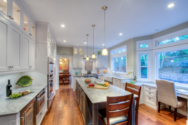 Super White Quartzite Kitchen Traditional with Beige Wall Brookhaven Cabinetry