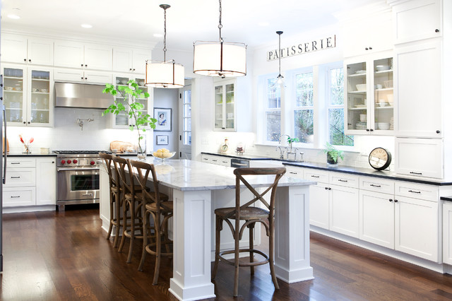 Super White Quartzite Kitchen Traditional with Bentwood Bar Stools Black