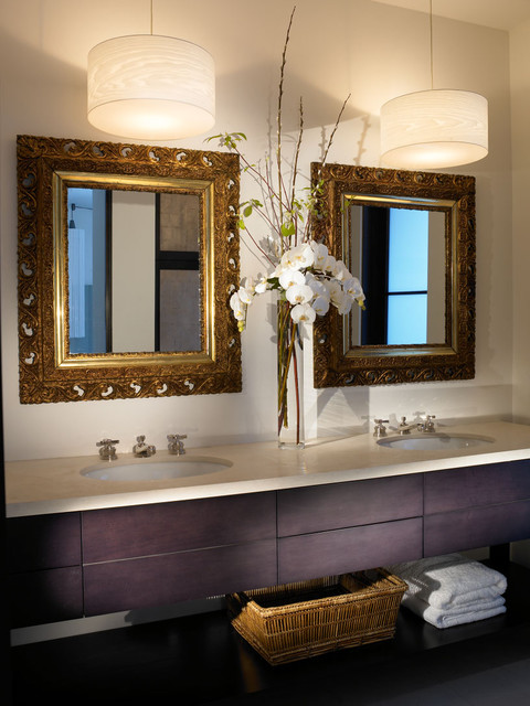 Swag Lamps Bathroom Modern with Double Sinks Double Vanity
