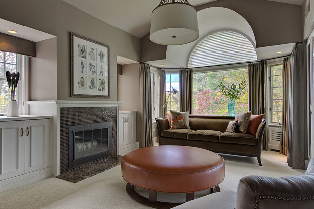Swaim Furniture Bedroom Transitional with Arched Window Art Above