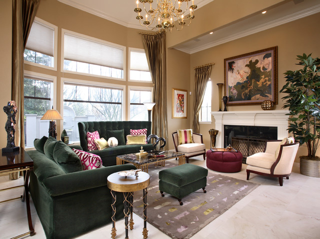 Swaim Furniture Living Room Traditional with Crown Molding Emerald Green