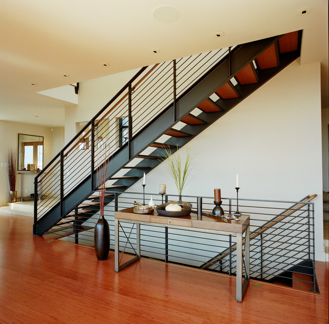 Swenson Granite Staircase Contemporary with Candles Entry Floating Stairs
