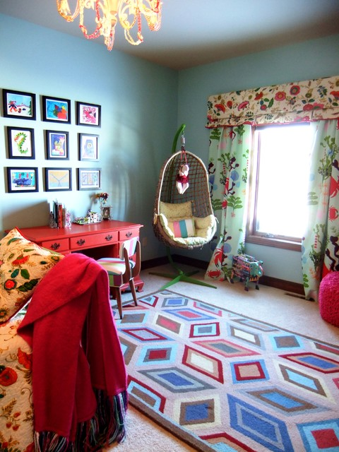 swingasan chair Kids Eclectic with area rug bold colors