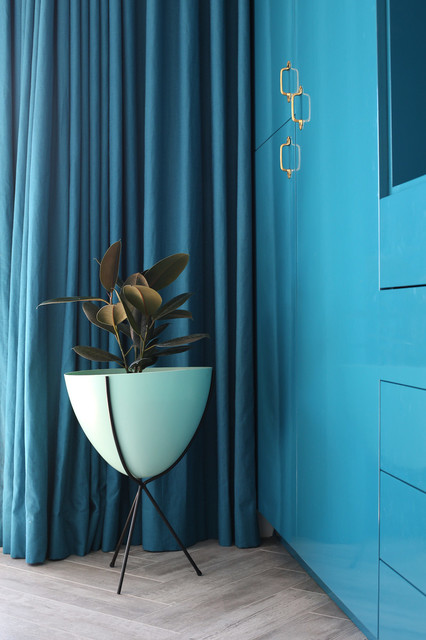 Swiss Coffee Paint Bedroom Contemporary with Blue Cabinets Blue Drapery