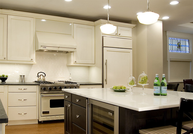 swiss coffee paint Kitchen Traditional with cabinet refrigerator ceiling lighting