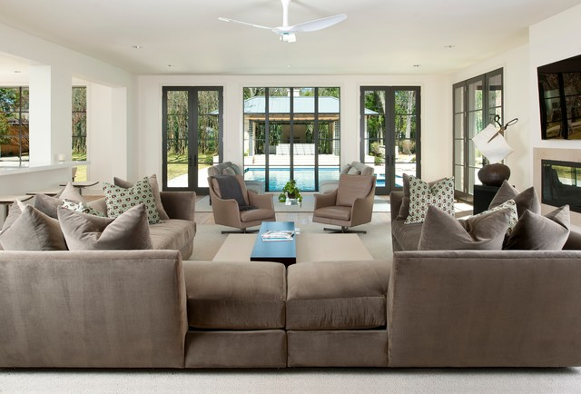 Swivel Armchair Family Room Contemporary with Brown Couch Ceiling Fan