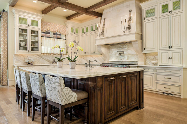 Swivel Counter Stools Kitchen Traditional with Ceiling Beams Chandelier Wall