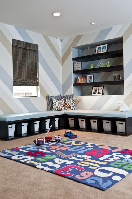 Tall Bookcase Kids Contemporary with Area Rug Baskets Blue