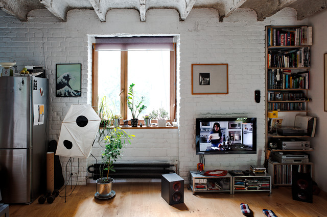 tall bookcase Living Room Industrial with bookcase exposed brick exposed