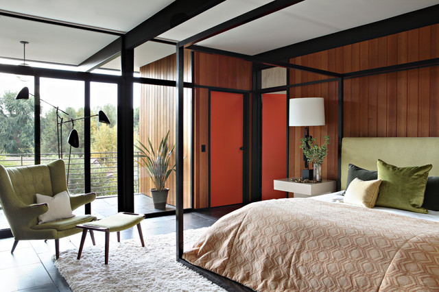 Tall Narrow Dresser Bedroom Midcentury with Armchair Balcony Bedding Contrast