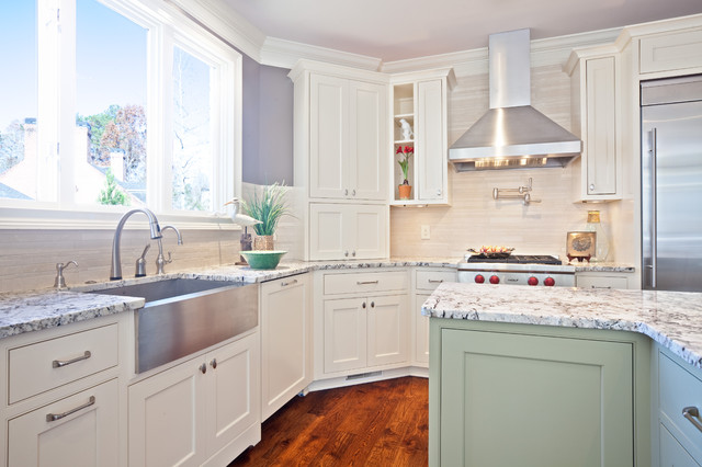 Tea Strainer Kitchen Contemporary with Apron Sink Crown Molding