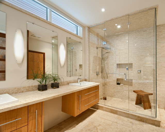 teak shower bench Bathroom Contemporary with accent tile custom millwork