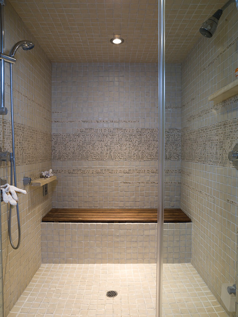 Teak Shower Bench Bathroom Contemporary with Custom Vanity Cabinet Floating