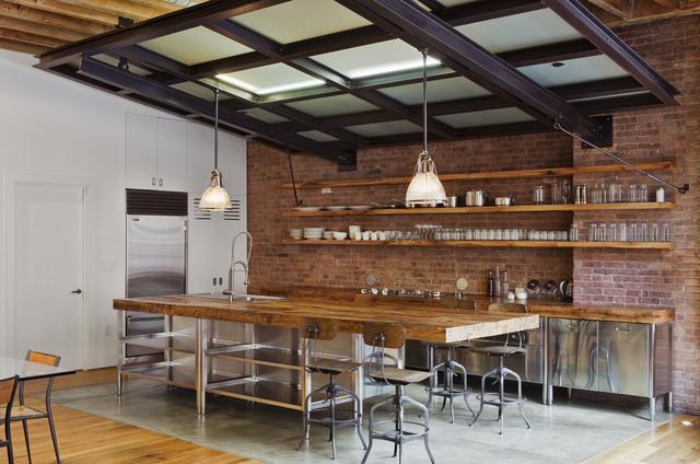 teak warehouse Kitchen Industrial with brick built in butcher