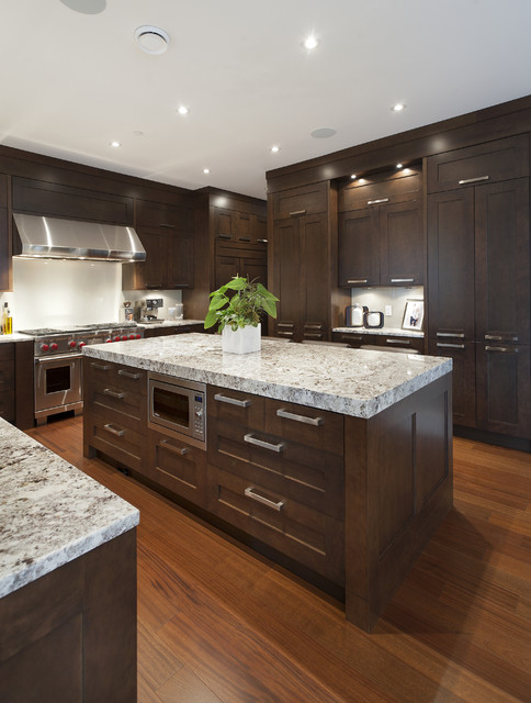 Teak Warehouse Kitchen Transitional with Ceiling Lighting Dark Wood
