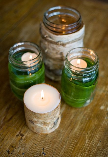 tealight candles Dining Room Traditional with candles green table tablescape
