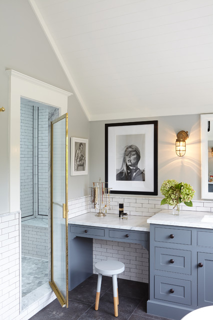 Tec Grout Bathroom Traditional with Framed Art Makeup Vanity